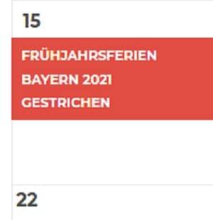 Die Frühjahrsferien Bayern 2021 fallen aus.